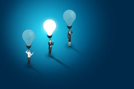 Businesspeople group standing under lightbulb but one person creative concept solution and succes. Flat isometric illustration vector Imagens - 122936667