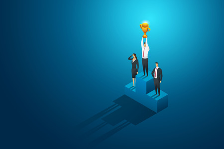 Businessperson one winner holding trophy on podium. leadership and success.isometric concept illustration vector