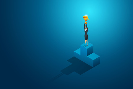 Businesswomen winner holding trophy on podium. leadership and success.isometric concept illustration vector Imagens - 122936669