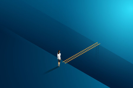 Business challenge businesswoman standing thinking looks at ladder cross to goal success. illustration Vector Imagens - 122936670