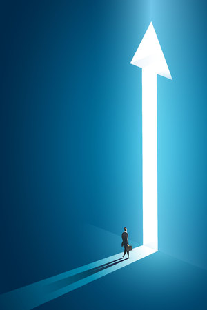Businessman walking go to front of bright big shining arrow in the wall darke blue of the hole at light falls. illustration Vector