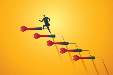 Businessman rushing up the stairs darts to the target goal and success. Business concept illustration Vector