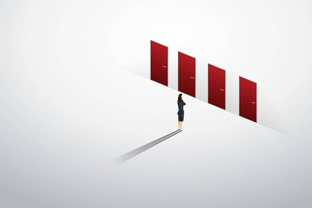 Businesswoman standing thinking at red door four of choice on wall path to goal success. illustration Vector