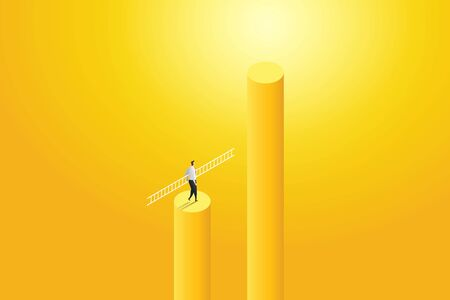 Businessman walking holding ladder to goal success with challenge. illustration Vector