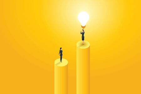 Businesswoman see businesspeople standing under lightbulb creative concept solution and vision, ambition succes. Flat isometric illustration vector