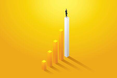 Businessman vision opportunities and achievement on chart . Business concept illustration vector Ilustração