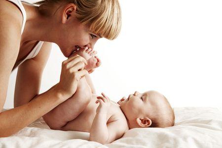 vaderlijk: Mother baby voet kussen