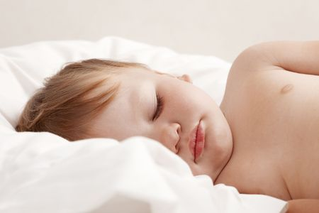 Baby sleeping in bed Stock Photo - 7149371