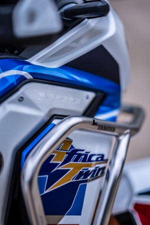 BANGKOK, THAILAND - SEPTEMBER 26, 2020 : Honda Africa Twin Enduro motorcycle model.Close-up front view.