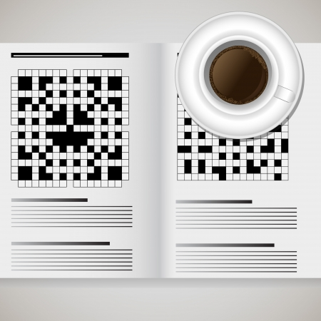 a cup of coffee and a newspaper with crosswords Vector