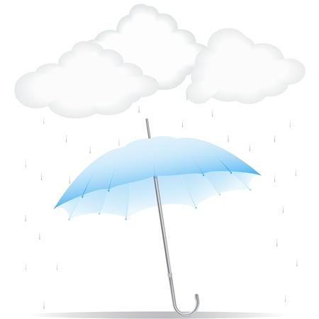 torrential: Blue umbrella in the rain Illustration