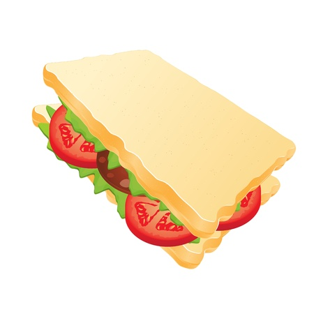 sandwich with sausage and tomatoes Vector