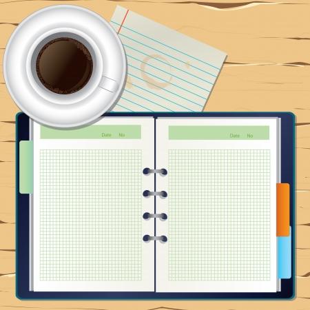 organizer page: un caf� y un bloc de notas en el escritorio Vectores