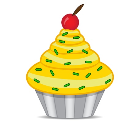 cupcakes isolated: cupcake with cherry Isolated on white background Illustration