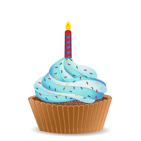 fire and ice: Verjaardag cupcake Stock Illustratie