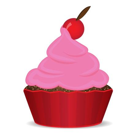 cupcake with cherry Stock Vector - 14172163
