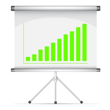Blank roll up poster with green graph illustration