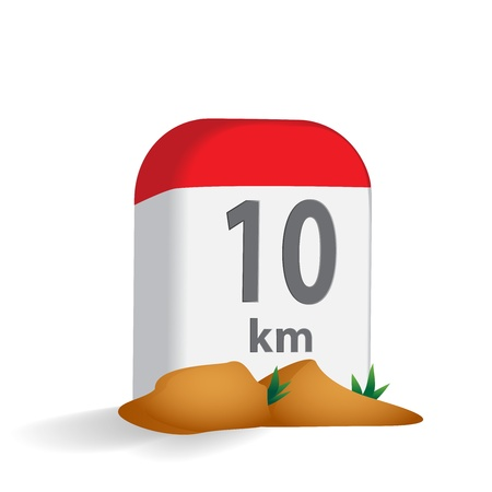miles: Milestone in the mountains vector illustration
