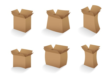set of open empty cardboard box vector illustration