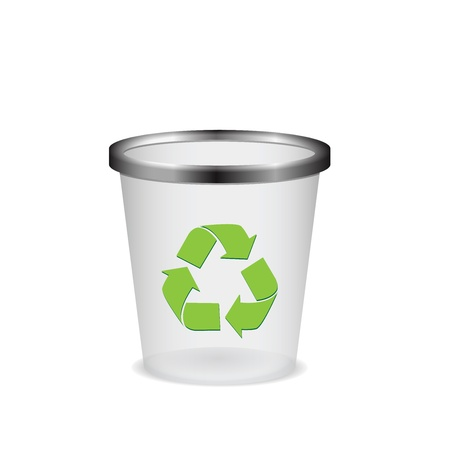 wastepaper basket: Plastic recycle trash can vector illustration