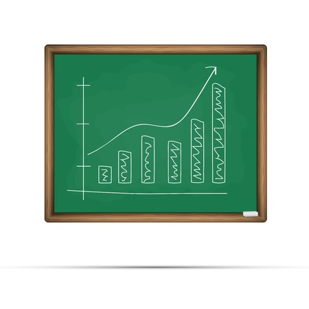 Blackboard with graph illustration Vector