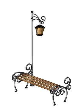 Bench and street lamp illustration Vector