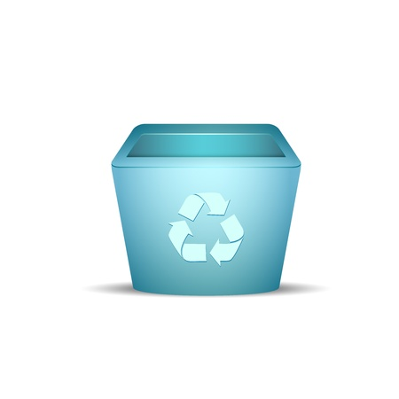 rubbish cart: Plastic recycle trash can vector illustration