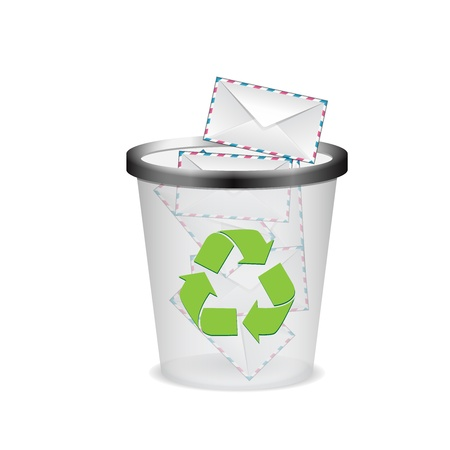 wastepaper basket: envelopes in the trash vector ilustration