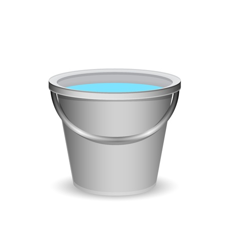 grey water: a bucket of water vector illustration Illustration