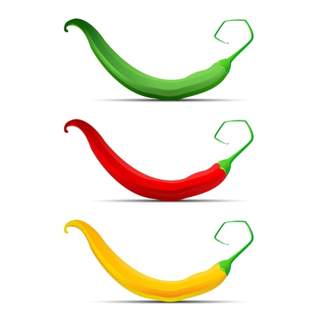 Hot chilli pepper set red yellow and green Vector