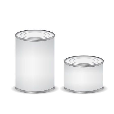 Tin cans isolated on white Vector