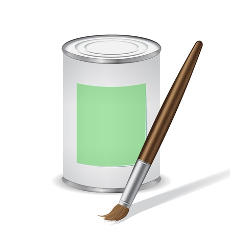 green paint tin and paint brush Vector