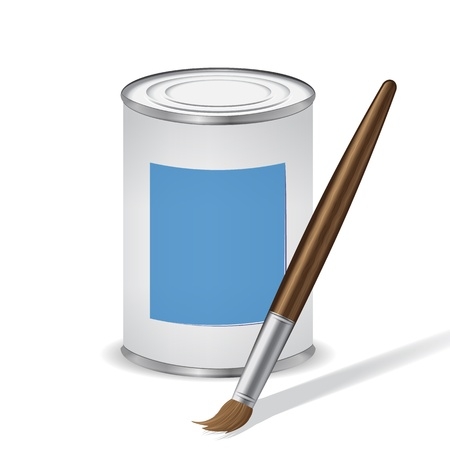 blue paint tin and paint brush Vector
