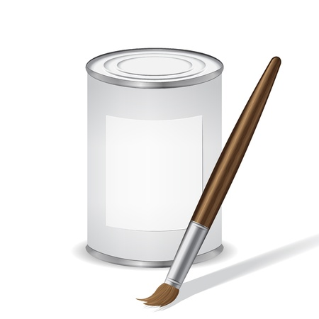 gray paint tin and paint brush Vector