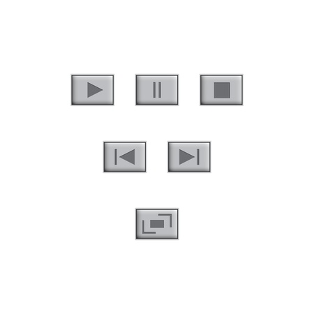 audio player: white round media player buttons and audio player