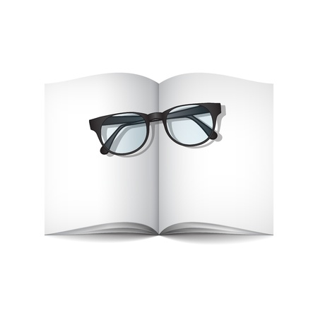 empty journal and glasses Stock Vector - 18563271