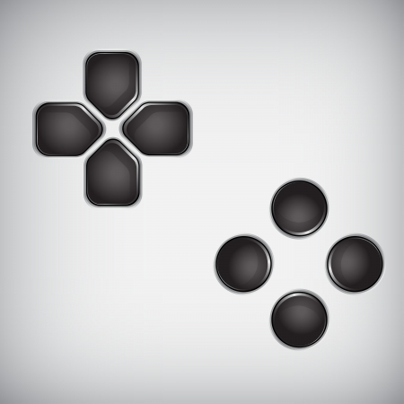 black joystick buttons Vector