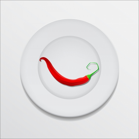 Red hot chili pepper on a plate Stock Vector - 18619488