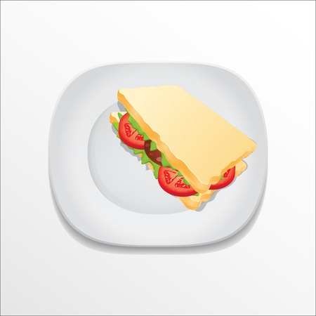 sandwich on a plate Stock Vector - 18619494