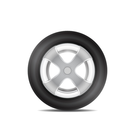 motor coach: tire with aluminum rim isolated Illustration