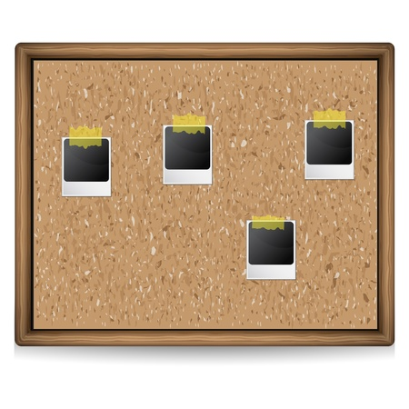 stock photograph: A cork board with photos illustration Illustration