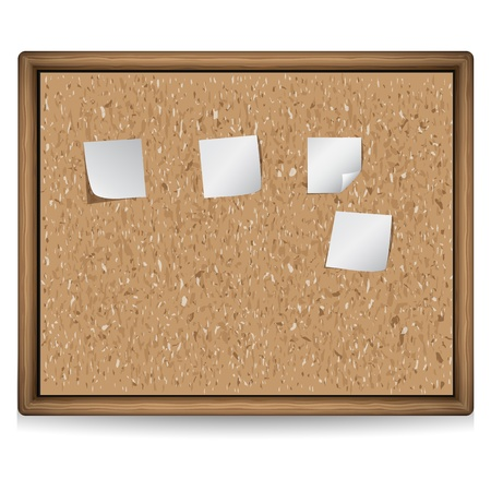 cork board with blank notes Vector