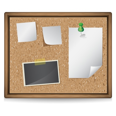illustration of bulletin board with blank notes and photos Vector