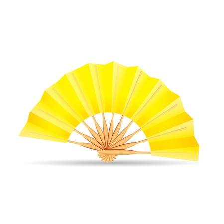 yellow folding fan