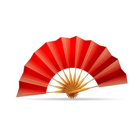 red folding fan Illustration