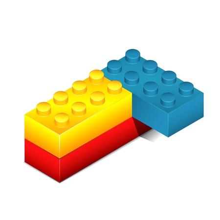 Toy blocks isolated on white  Illustration