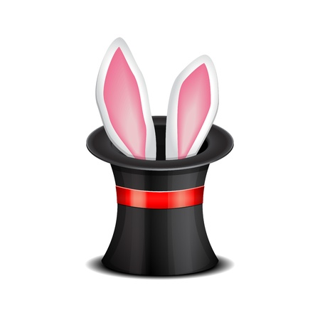 beautiful rabbit: Rabbit ears appear from the magic top hat