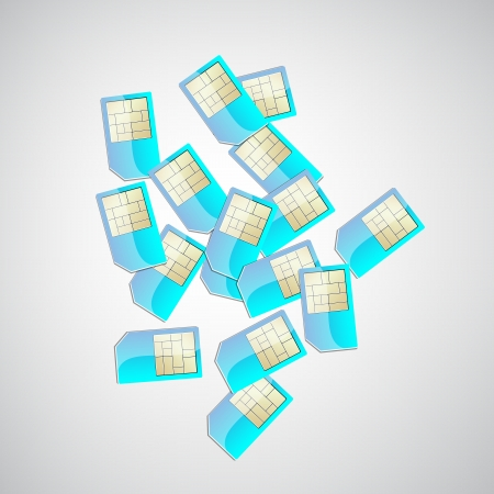 top view of a pile of sim cards  Vector