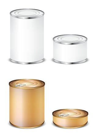 canned food: set tin isolated on white background