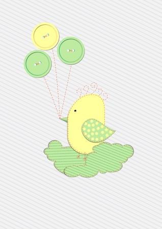 Scrapbook bird with buttons design background Vector